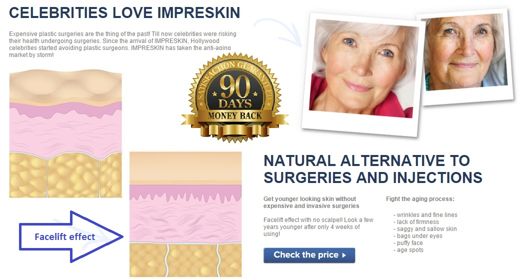 ImpreSkin is a revolutionary product which reduces wrinkles. It was developed for women who dream about firm and radiant skin. Impreskin does not just hide every sign of aging but works at a cellular level, that is why it is so effective: smoothes, strengthens and tightens skin, providing it with an optimal hydration. A visible improvement of skin condition on your face happens after 4 weeks